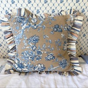 Other - Pair of brown, blue & cream toille accent pillows